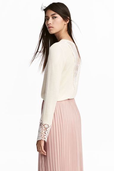 Jumper with lace details - Natural white -  | H&M