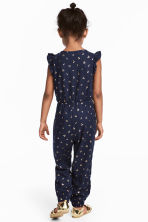 Jumpsuit with Ruffled Sleeves - Dark blue/cherry -  | H&M CA 1