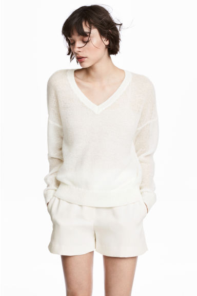 Wool-blend jumper - White - Ladies | H&M CN 1