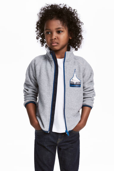 Fleece jacket - Grey marl - Kids | H&M 1