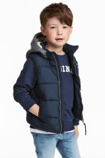 Padded gilet with a hood - Dark blue - Kids | H&M 1