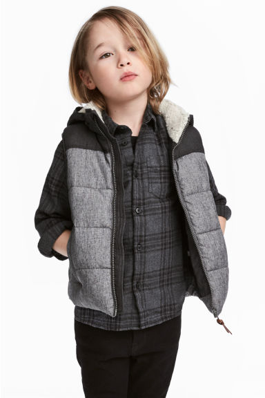 連帽鋪棉背心 - Dark grey marl - Kids | H&M 1