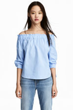 Off-the-shoulder blouse - Light blue/Checked - Ladies | H&M CN 1