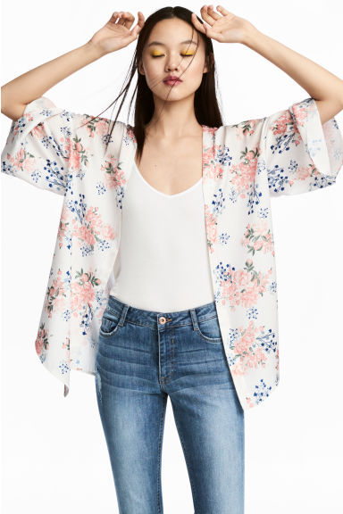 綢緞和風上衣 - Natural white/Floral - Ladies | H&M 1