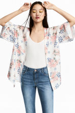 Satin kimono - Natural white/Floral - Ladies | H&M IE 1