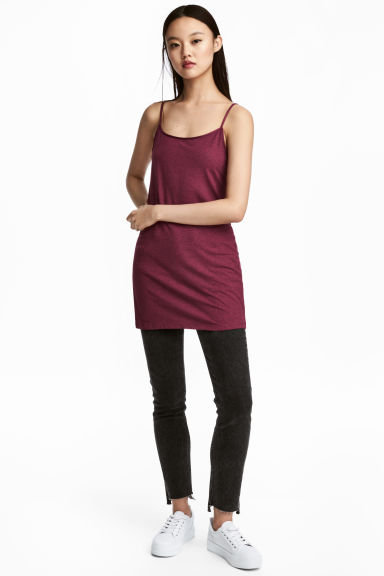 Long jersey strappy top - Dark pink - Ladies | H&M 1