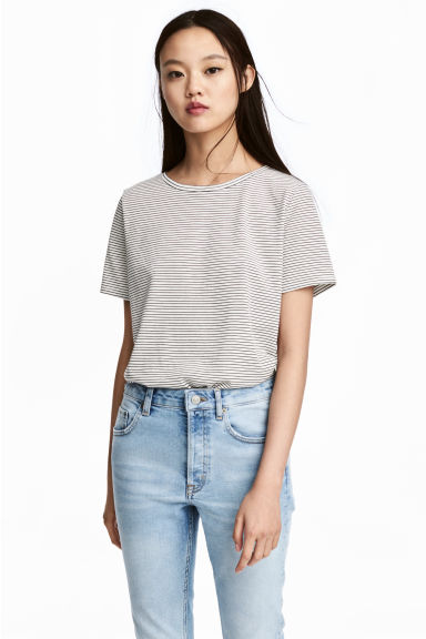 棉質混紡T恤 - White/Striped - Ladies | H&M 1