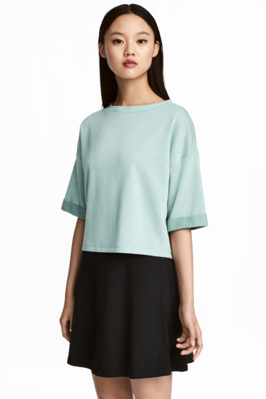 Short-sleeved sweatshirt - Mint green - Ladies | H&M CN 1