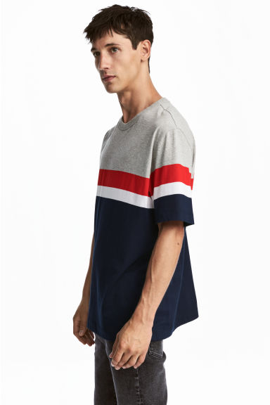 Block-patterned T-shirt - Dark blue/Grey marl - Men | H&M