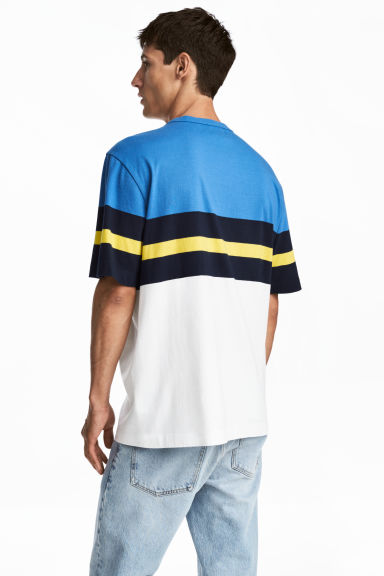 Block-patterned T-shirt - White/Blue - Men | H&M 1