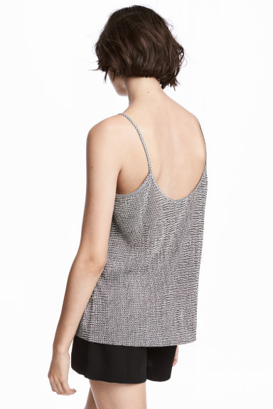 Pleated strappy top - Natural white/Patterned - Ladies | H&M GB 1