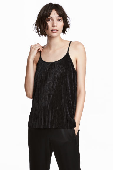 Pleated strappy top - Black - Ladies | H&M 1