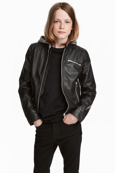 Biker jacket with jersey hood - Black - Kids | H&M CN 1