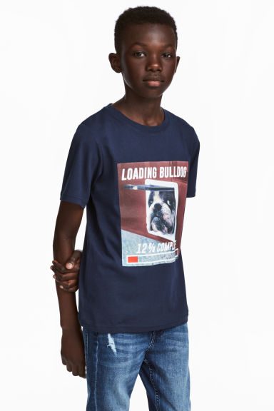 Printed T-shirt - Dark blue/Dog - Kids | H&M 1