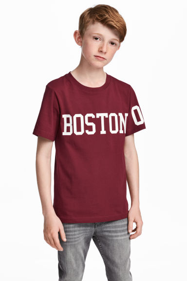 Printed T-shirt - Burgundy/Boston - Kids | H&M 1