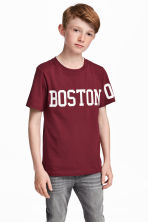 圖案T恤 - Burgundy/Boston - Kids | H&M 1