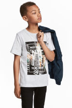 Printed T-shirt - Light grey/New York -  | H&M 1