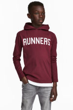 Jersey hooded top - Burgundy - Kids | H&M CA 1