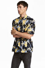 Short-sleeved cotton shirt - Dark blue/Floral - Men | H&M 1