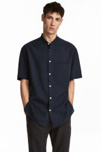 Short-sleeved linen-mix shirt - Dark blue - Men | H&M IE 1