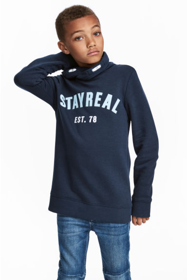 Funnel-collar sweatshirt - Dark blue - Kids | H&M 1
