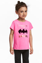 Top in jersey con stampa - Rosa/Batgirl - BAMBINO | H&M IT 1