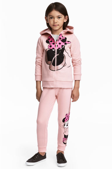 Printed joggers - Light pink/Minnie Mouse - Kids | H&M GB