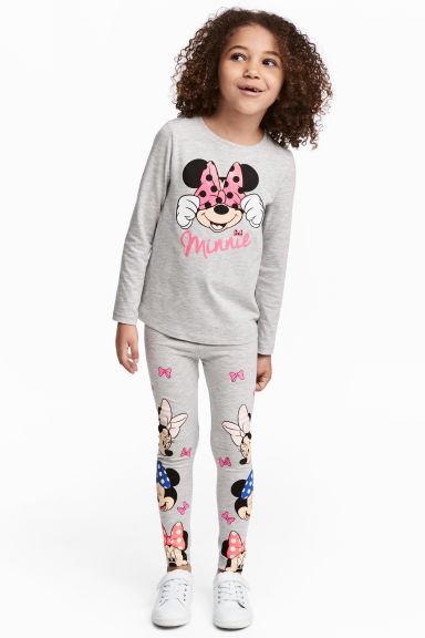 Jersey leggings - Grey/Minnie Mouse -  | H&M