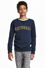 Cotton piqué top - Dark blue - Kids | H&M 1