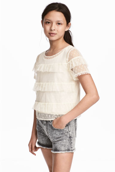 Tiered tulle top - Natural white - Kids | H&M