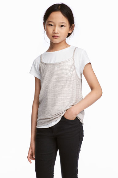 Double-layered top - White/Silver-coloured - Kids | H&M 1