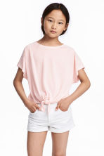 Tie-front Top - Light pink/white - Kids | H&M CA 1