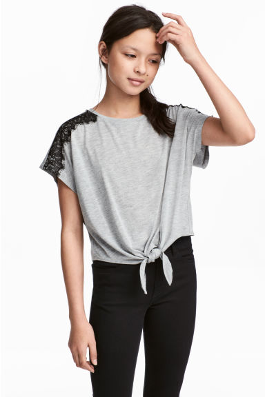 Tie-hem top - Grey marl/Black - Kids | H&M