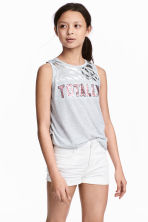 Sleeveless jersey top - Light grey/Pink - Kids | H&M 1