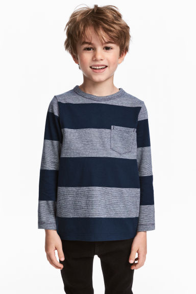 Long-sleeved T-shirt - Dark blue/Striped - Kids | H&M CN 1