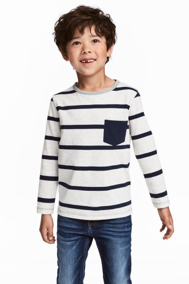 Long-sleeved T-shirt - Light grey/Striped - Kids | H&M CN 1