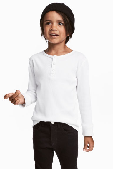 Ribbed Henley shirt - White - Kids | H&M