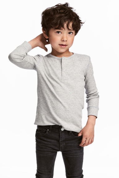 羅紋亨利衫 - Grey marl - Kids | H&M 1
