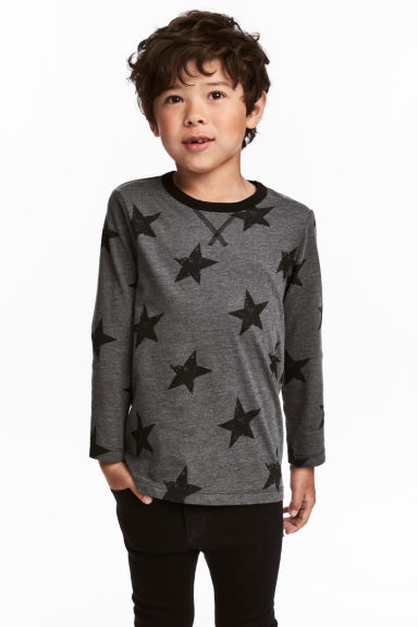 Tricot T-shirt - Donkergrijs/sterren - KINDEREN | H&M BE 1