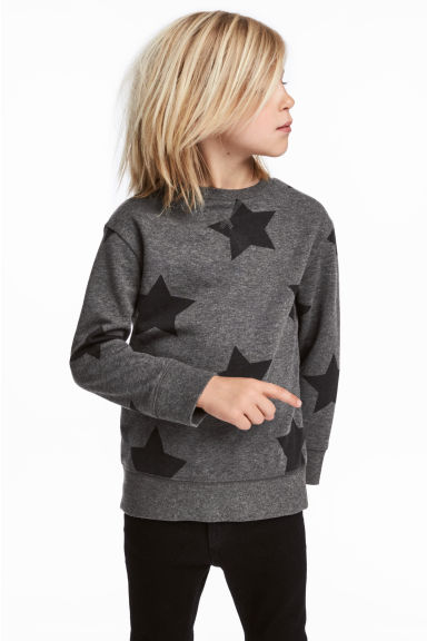 Sweatshirt - Dark grey/Stars - Kids | H&M CN