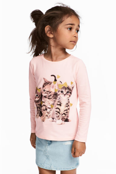 Jersey top with a print motif - Light pink/Cat - Kids | H&M 1