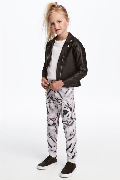 Patterned joggers - Light grey/White Tiger -  | H&M 1