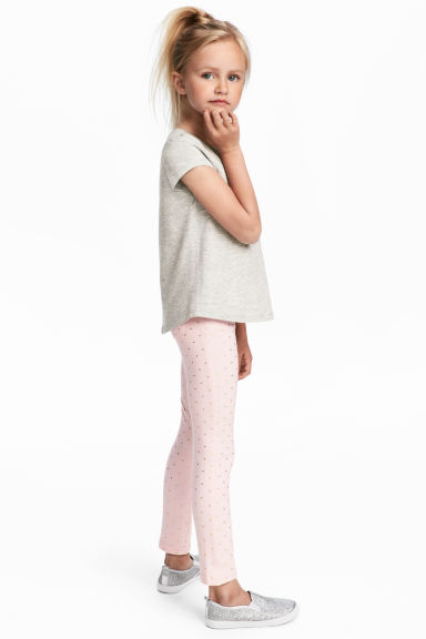 Jersey treggings - Light pink/Hearts - Kids | H&M CN