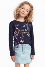 Jersey top with a print motif - Dark blue - Kids | H&M CN 1