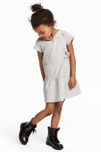 Jersey dress with a hood - Grey marl - Kids | H&M 1