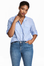 H&M+ Cotton shirt - Blue/White/Striped - Ladies | H&M 1