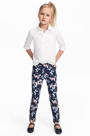 Twill trousers - Dark blue/Butterflies -  | H&M