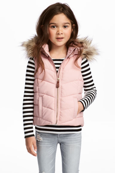 Padded gilet - Light pink - Kids | H&M CN