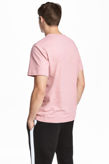 Linen-blend T-shirt - Pink marl - Men | H&M CN