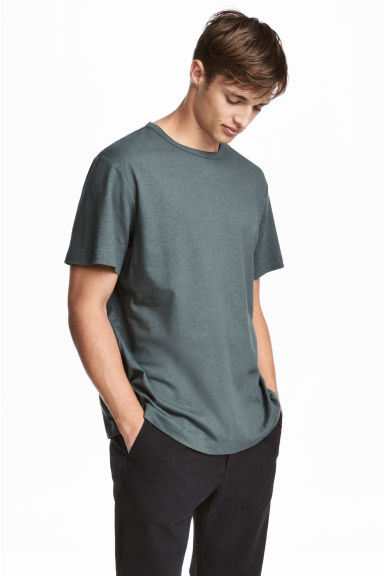 Linen-blend T-shirt - Grey-green - Men | H&M